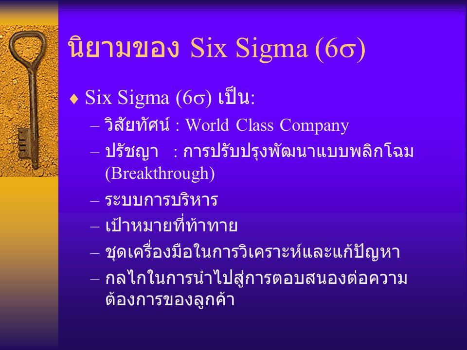 นิยามของ Six Sigma (6s) Six Sigma (6s) เป็น:
