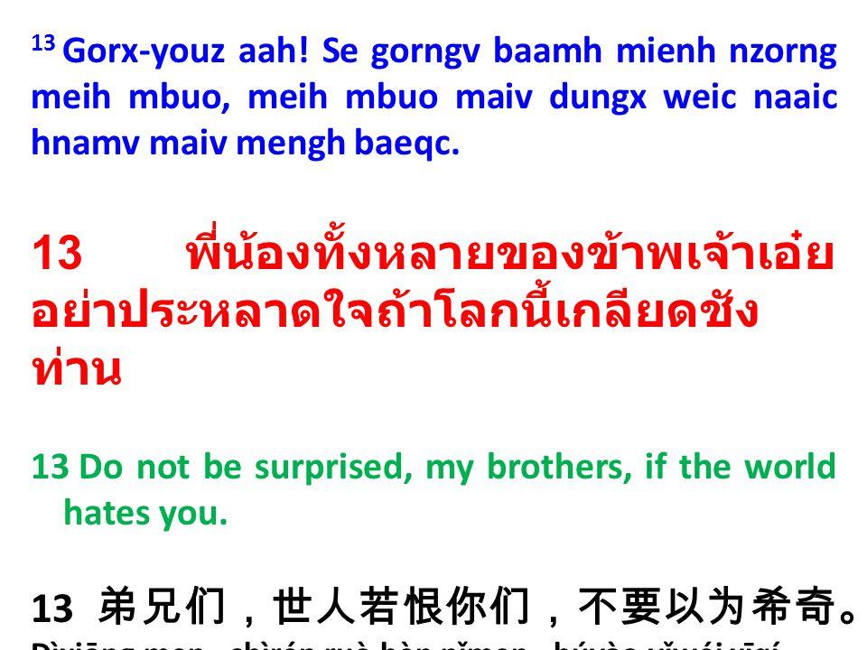 13 พี่น้องทั้งหลายของข้าพเจ้าเอ๋ย อย่าประหลาดใจถ้าโลกนี้เกลียดชังท่าน