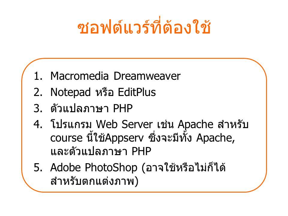 ซอฟต์แวร์ที่ต้องใช้ Macromedia Dreamweaver Notepad หรือ EditPlus