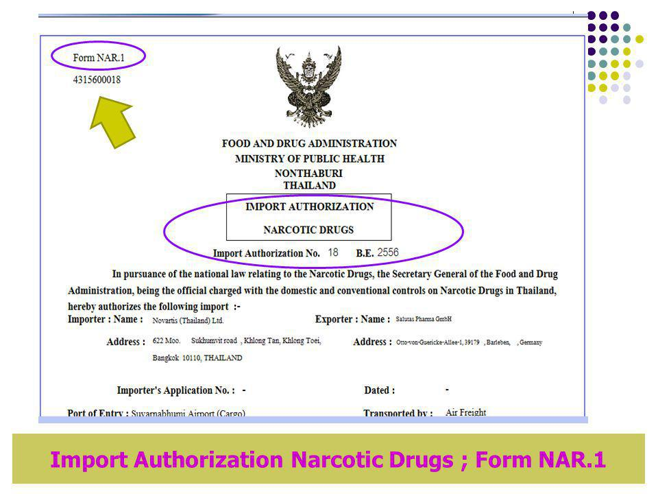 Import Authorization Narcotic Drugs ; Form NAR.1