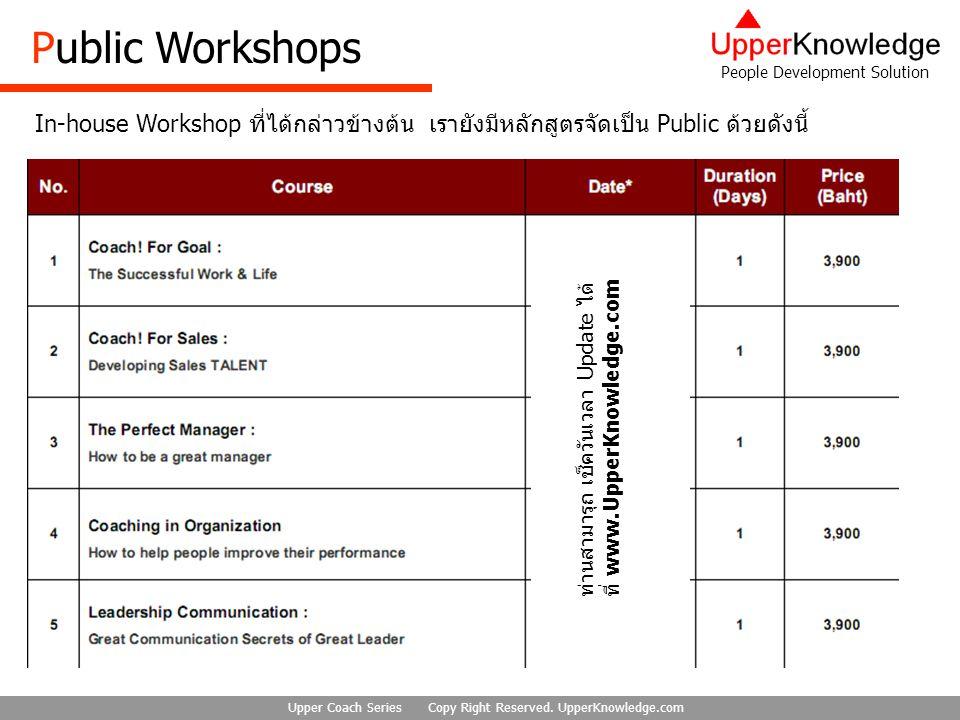Public Workshops In-house Workshop ที่ได้กล่าวข้างต้น เรายังมีหลักสูตรจัดเป็น Public ด้วยดังนี้