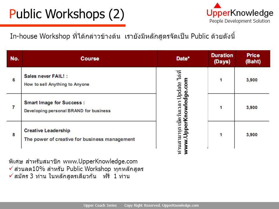 Public Workshops (2) In-house Workshop ที่ได้กล่าวข้างต้น เรายังมีหลักสูตรจัดเป็น Public ด้วยดังนี้