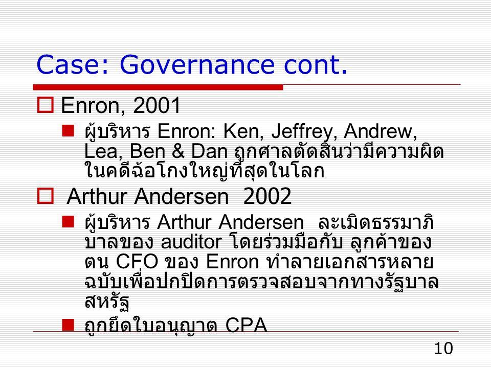 Case: Governance cont. Enron, 2001 Arthur Andersen 2002