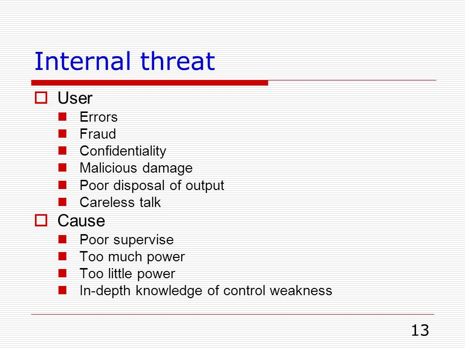 Internal threat User Cause Errors Fraud Confidentiality