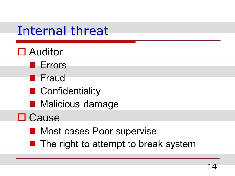 Internal threat Auditor Cause Errors Fraud Confidentiality