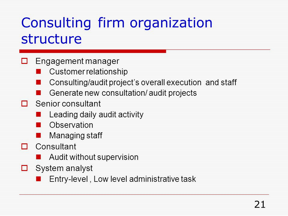Consulting firm organization structure