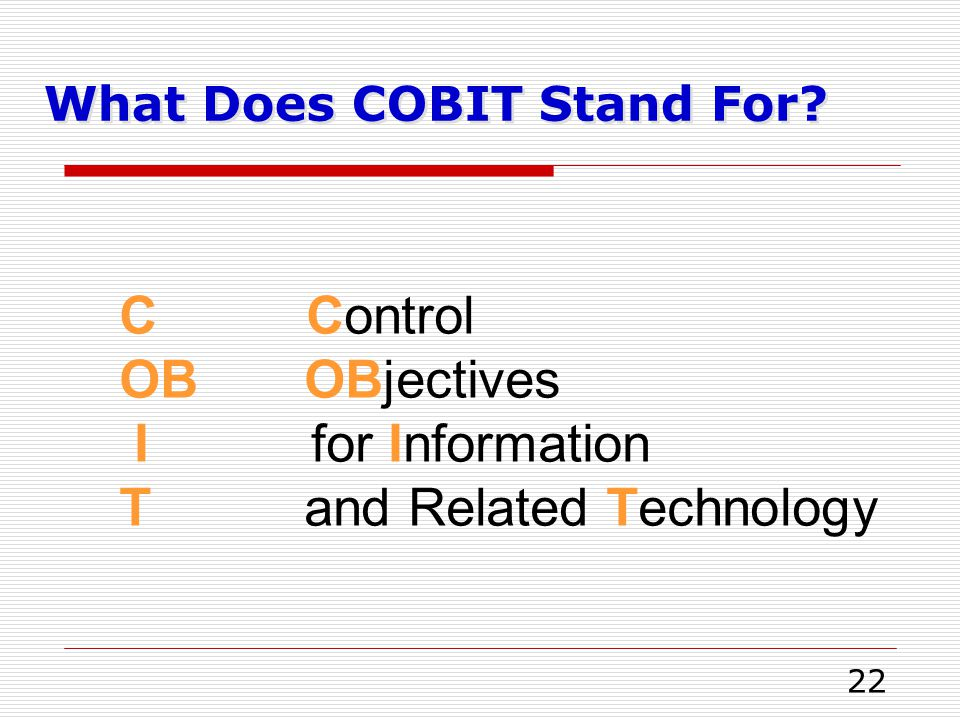 What Does COBIT Stand For