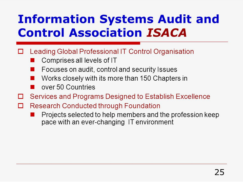 Information Systems Audit and Control Association ISACA