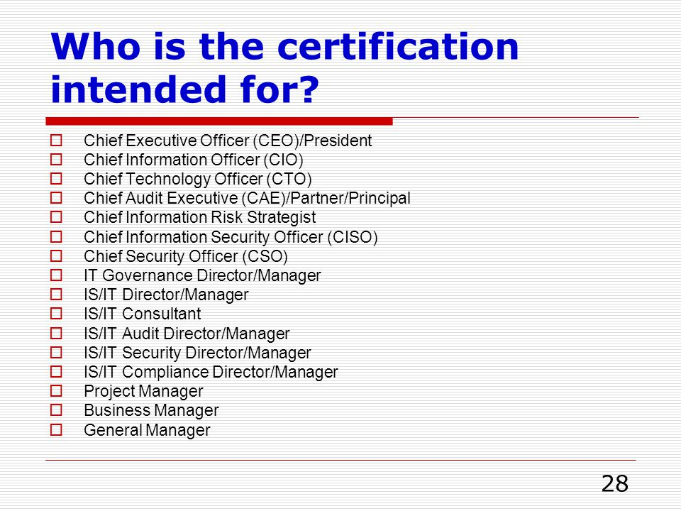 Who is the certification intended for