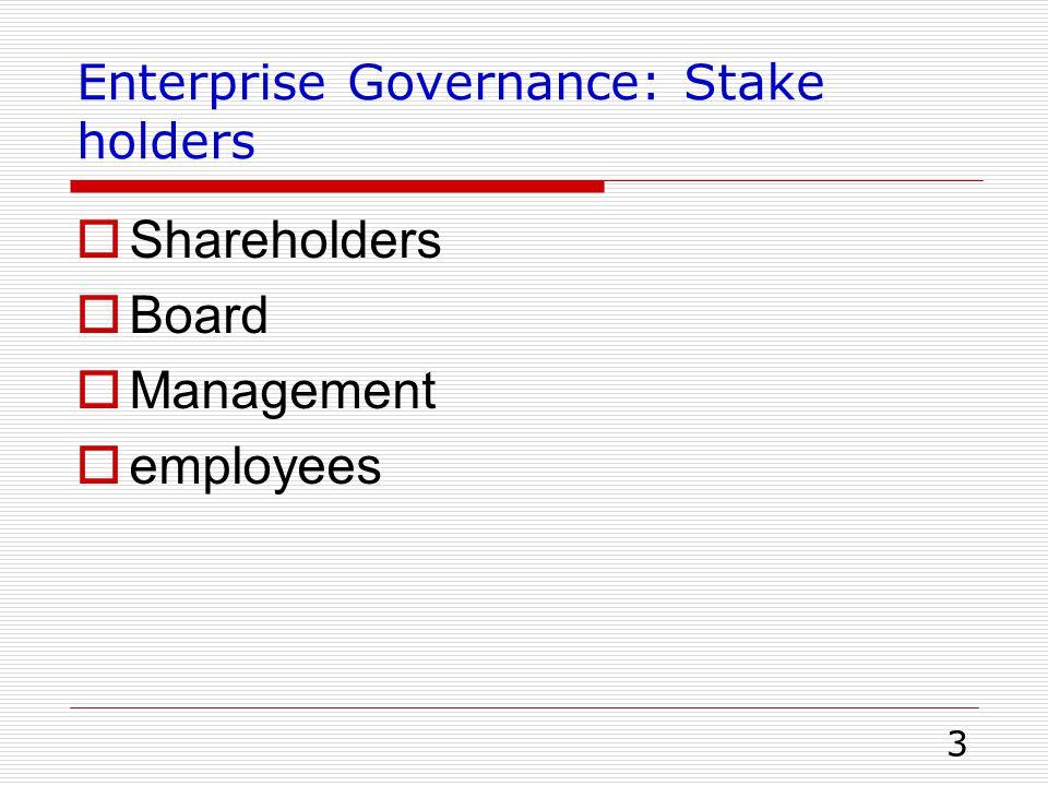 Enterprise Governance: Stake holders