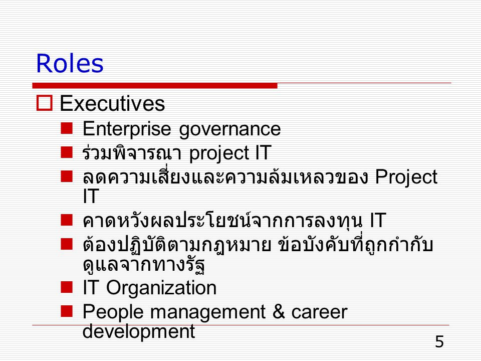 Roles Executives Enterprise governance ร่วมพิจารณา project IT