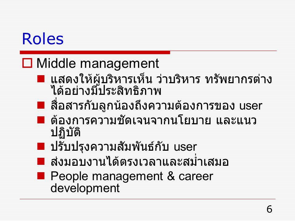 Roles Middle management