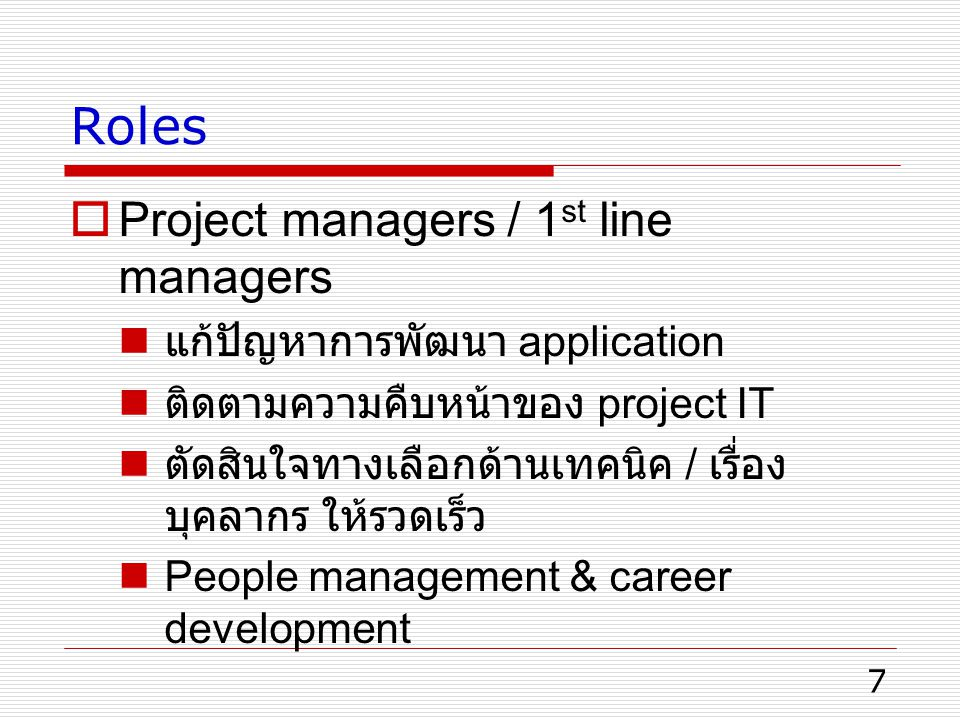 Roles Project managers / 1st line managers