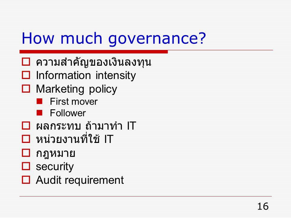 How much governance ความสำคัญของเงินลงทุน Information intensity
