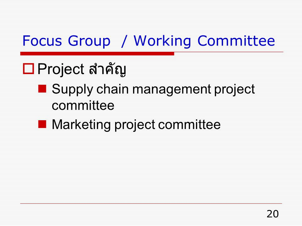 Focus Group / Working Committee