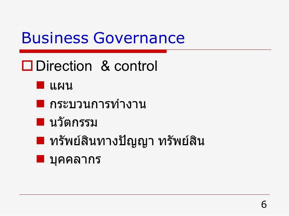 Business Governance Direction & control แผน กระบวนการทำงาน นวัตกรรม