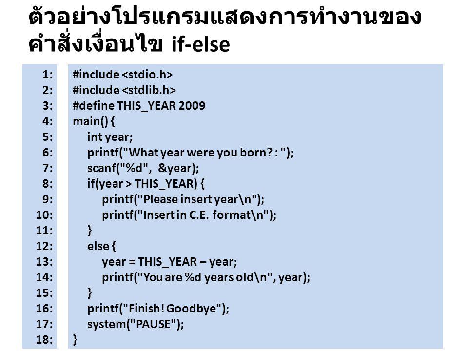 ตัวอย่างโปรแกรมแสดงการทำงานของคำสั่งเงื่อนไข if-else