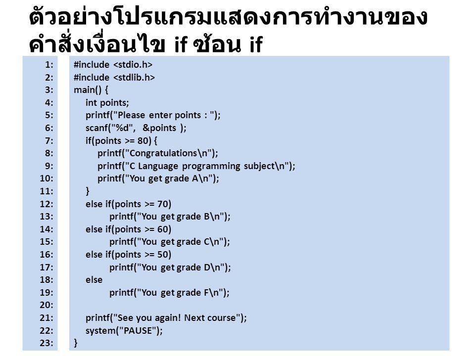 ตัวอย่างโปรแกรมแสดงการทำงานของคำสั่งเงื่อนไข if ซ้อน if