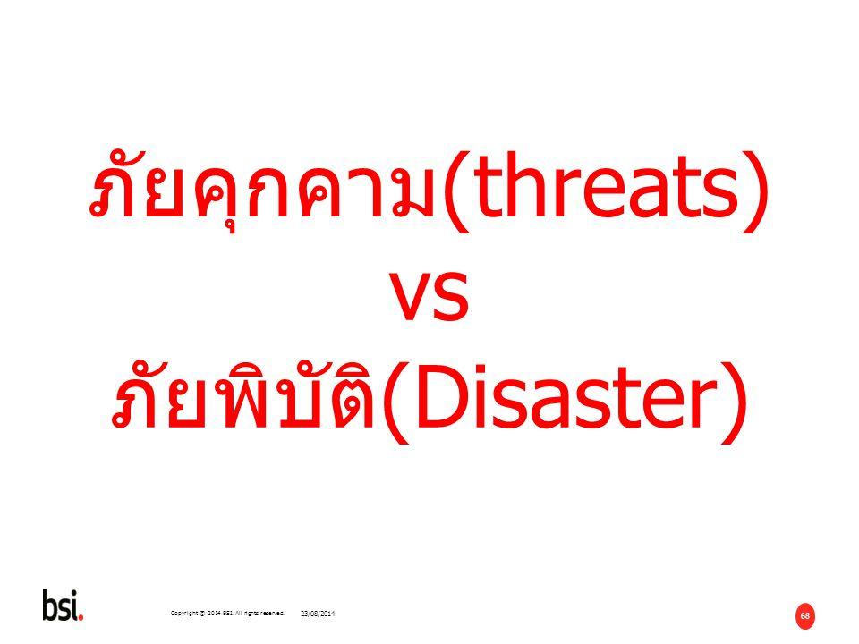 ภัยคุกคาม(threats) vs ภัยพิบัติ(Disaster)