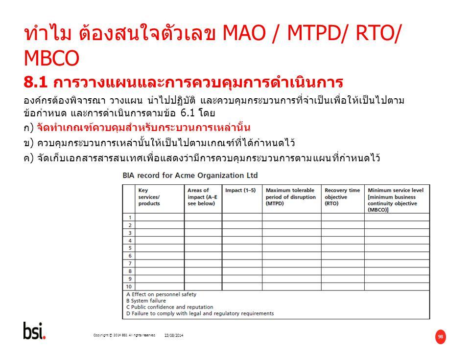 ทำไม ต้องสนใจตัวเลข MAO / MTPD/ RTO/ MBCO