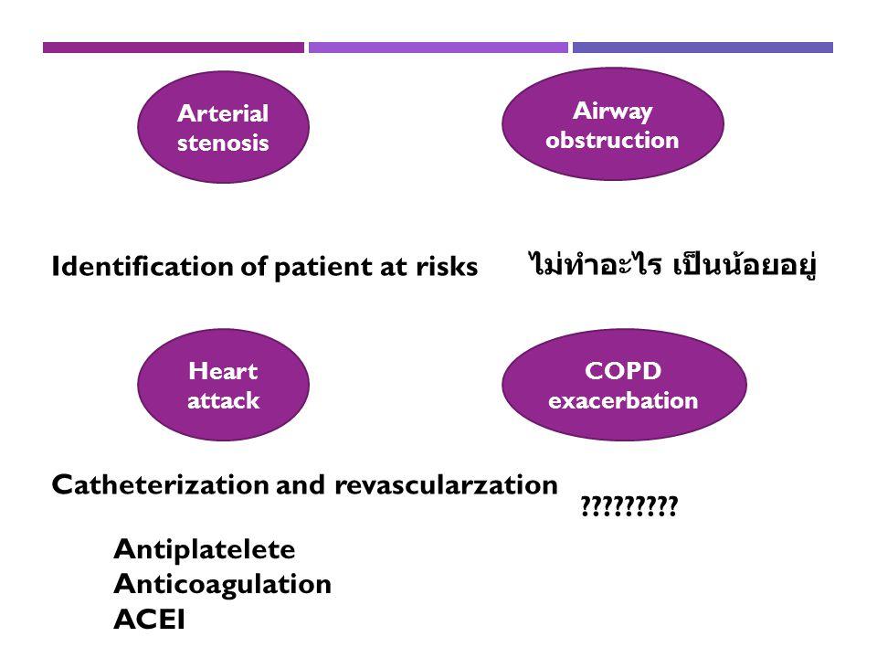 Identification of patient at risks ไม่ทำอะไร เป็นน้อยอยู่