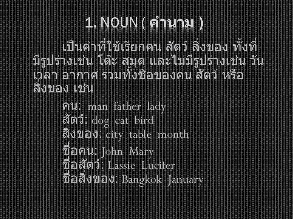1. Noun ( คำนาม )