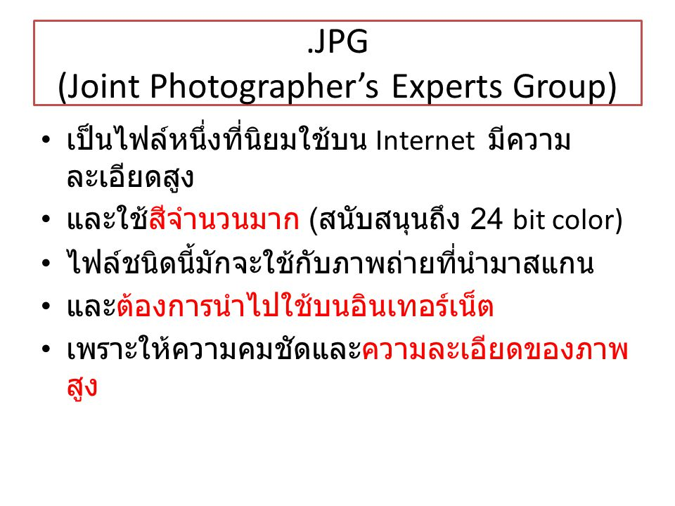 .JPG (Joint Photographer's Experts Group)