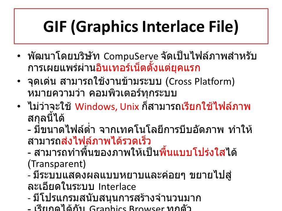 GIF (Graphics Interlace File)