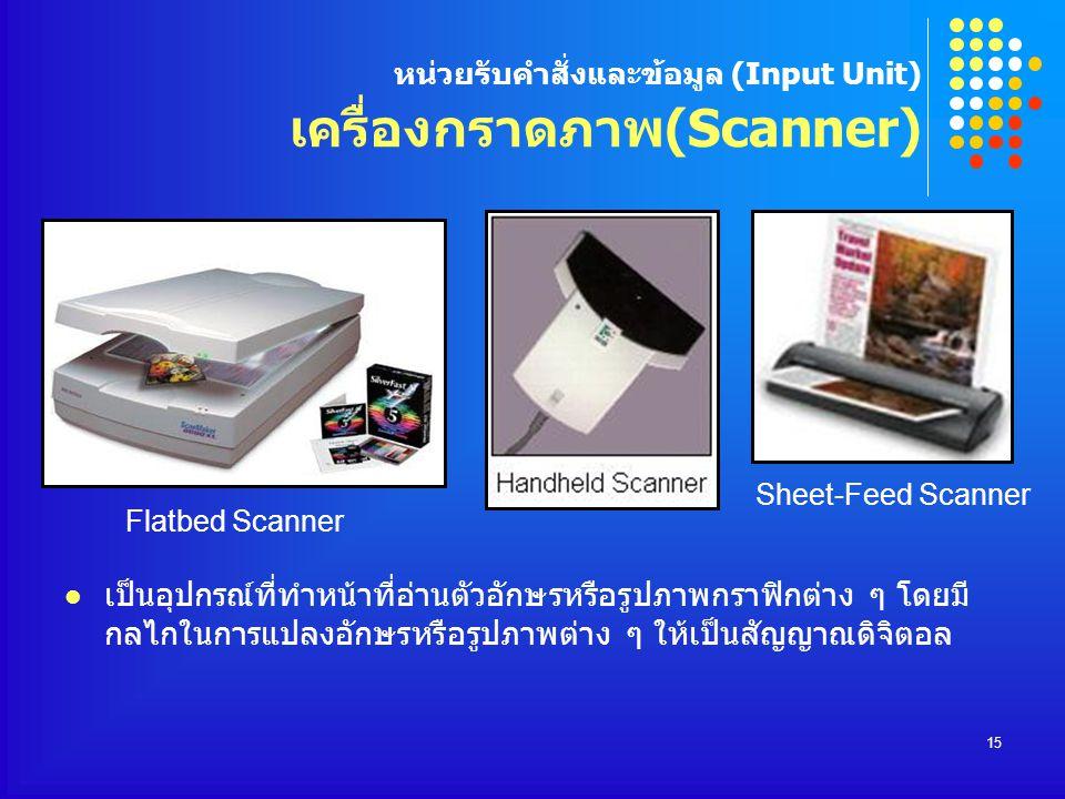 หน่วยรับคำสั่งและข้อมูล (Input Unit) เครื่องกราดภาพ(Scanner)