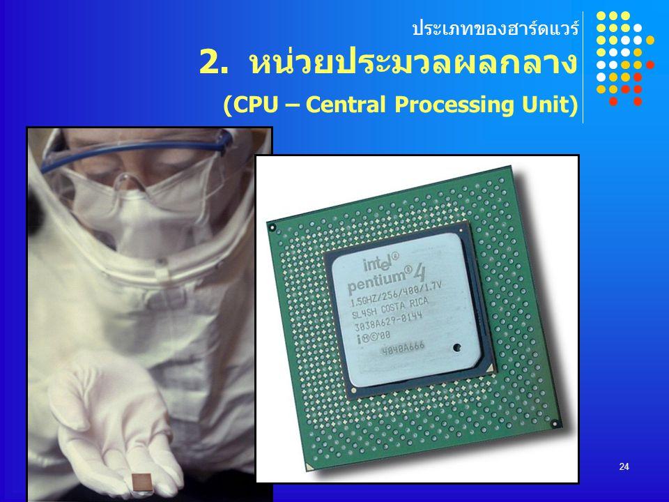 ประเภทของฮาร์ดแวร์ 2. หน่วยประมวลผลกลาง (CPU – Central Processing Unit)