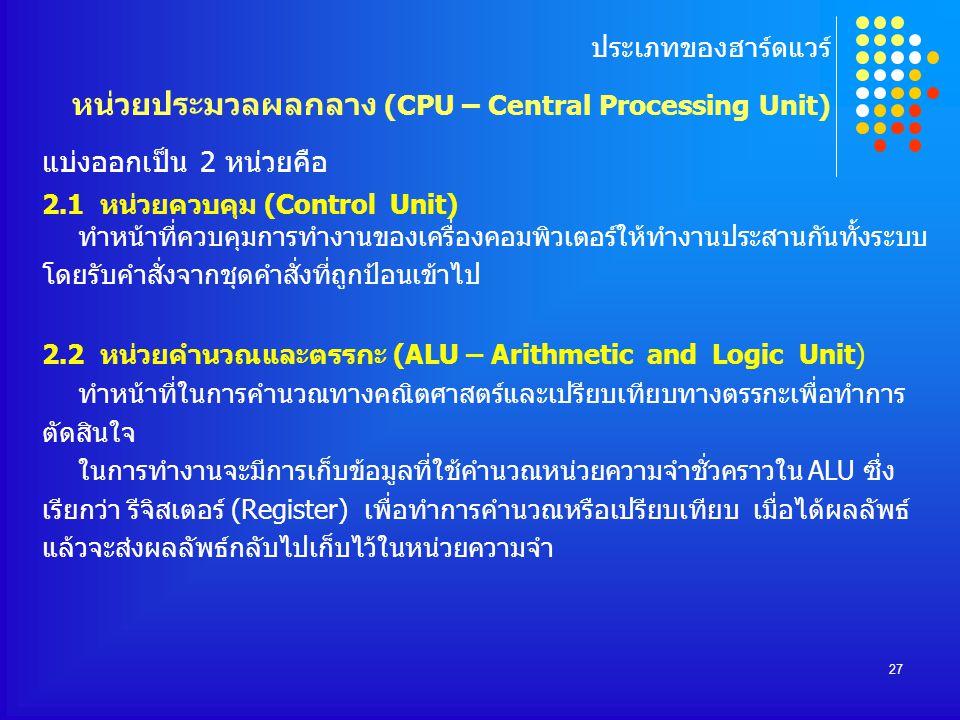 ประเภทของฮาร์ดแวร์ หน่วยประมวลผลกลาง (CPU – Central Processing Unit)