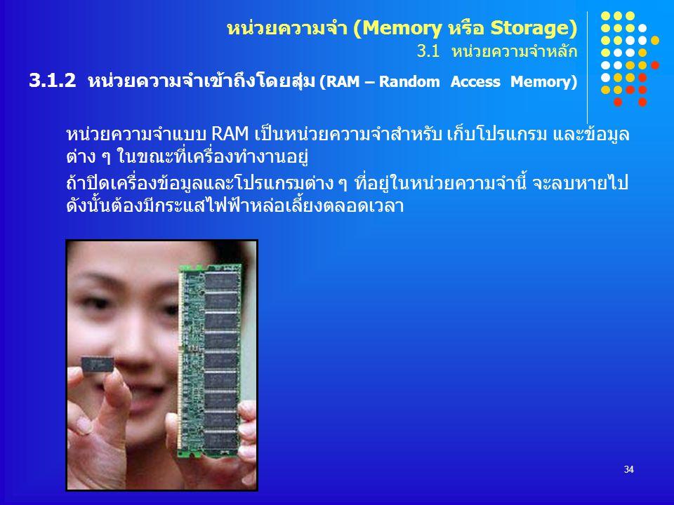 หน่วยความจำ (Memory หรือ Storage) 3. 1 หน่วยความจำหลัก 3. 1