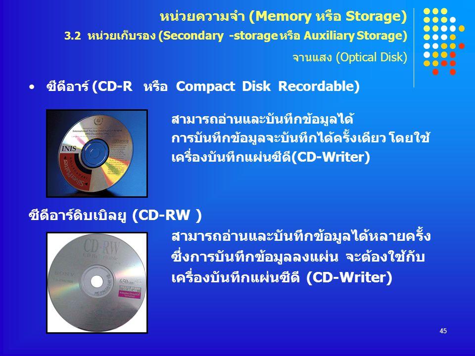 ซีดีอาร์ดิบเบิลยู (CD-RW )