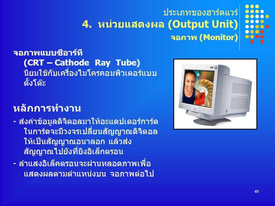 ประเภทของฮาร์ดแวร์ 4. หน่วยแสดงผล (Output Unit) จอภาพ (Monitor)