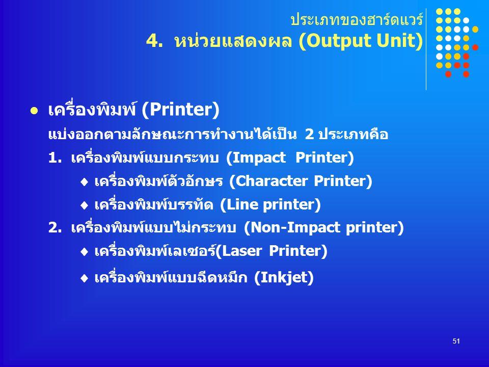 ประเภทของฮาร์ดแวร์ 4. หน่วยแสดงผล (Output Unit)