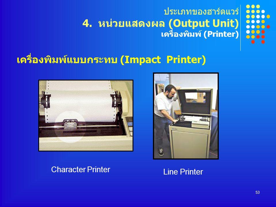 ประเภทของฮาร์ดแวร์ 4. หน่วยแสดงผล (Output Unit) เครื่องพิมพ์ (Printer)