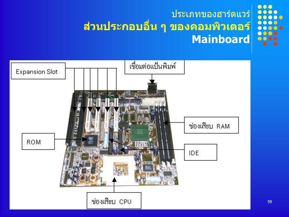 ประเภทของฮาร์ดแวร์ ส่วนประกอบอื่น ๆ ของคอมพิวเตอร์ Mainboard