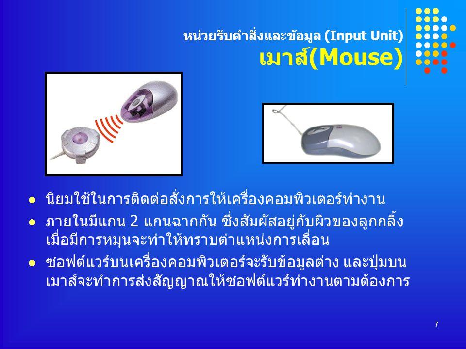 หน่วยรับคำสั่งและข้อมูล (Input Unit) เมาส์(Mouse)