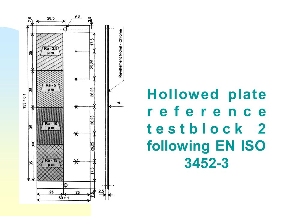 Hollowed plate reference testblock 2 following EN ISO 3452-3