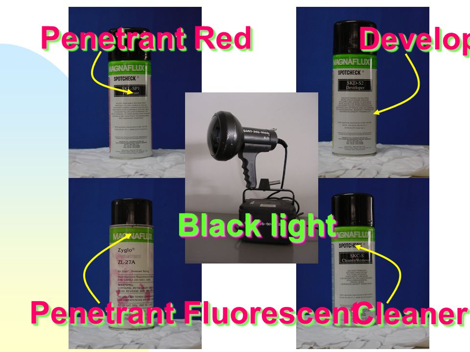 Penetrant Red Developer Black light Penetrant Fluorescent Cleaner