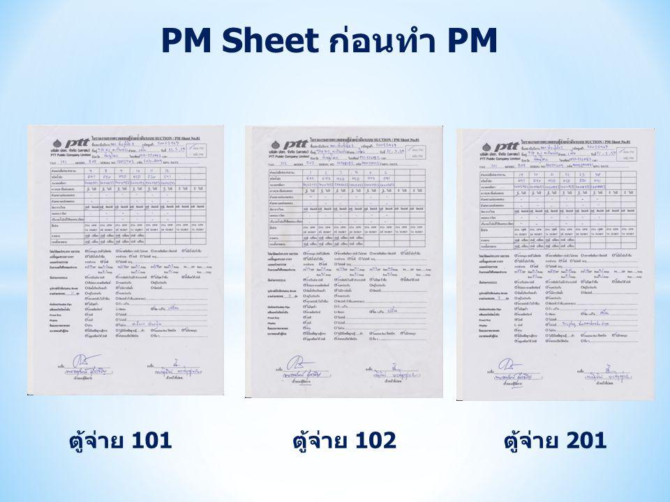 PM Sheet ก่อนทำ PM ตู้จ่าย 101 ตู้จ่าย 102 ตู้จ่าย 201