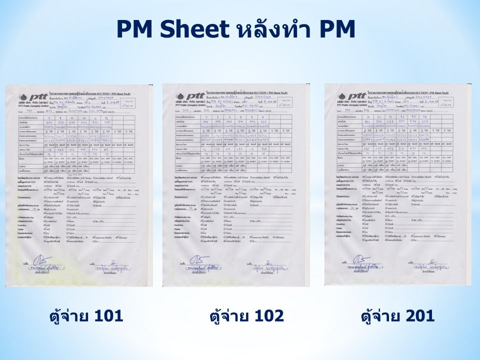 PM Sheet หลังทำ PM ตู้จ่าย 101 ตู้จ่าย 102 ตู้จ่าย 201