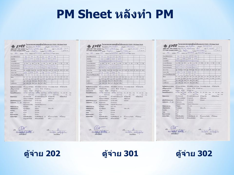 PM Sheet หลังทำ PM ตู้จ่าย 202 ตู้จ่าย 301 ตู้จ่าย 302