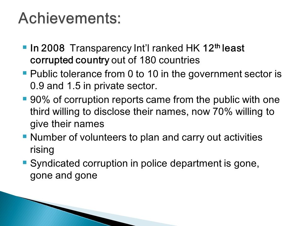 Achievements: In 2008 Transparency Int'l ranked HK 12th least corrupted country out of 180 countries.