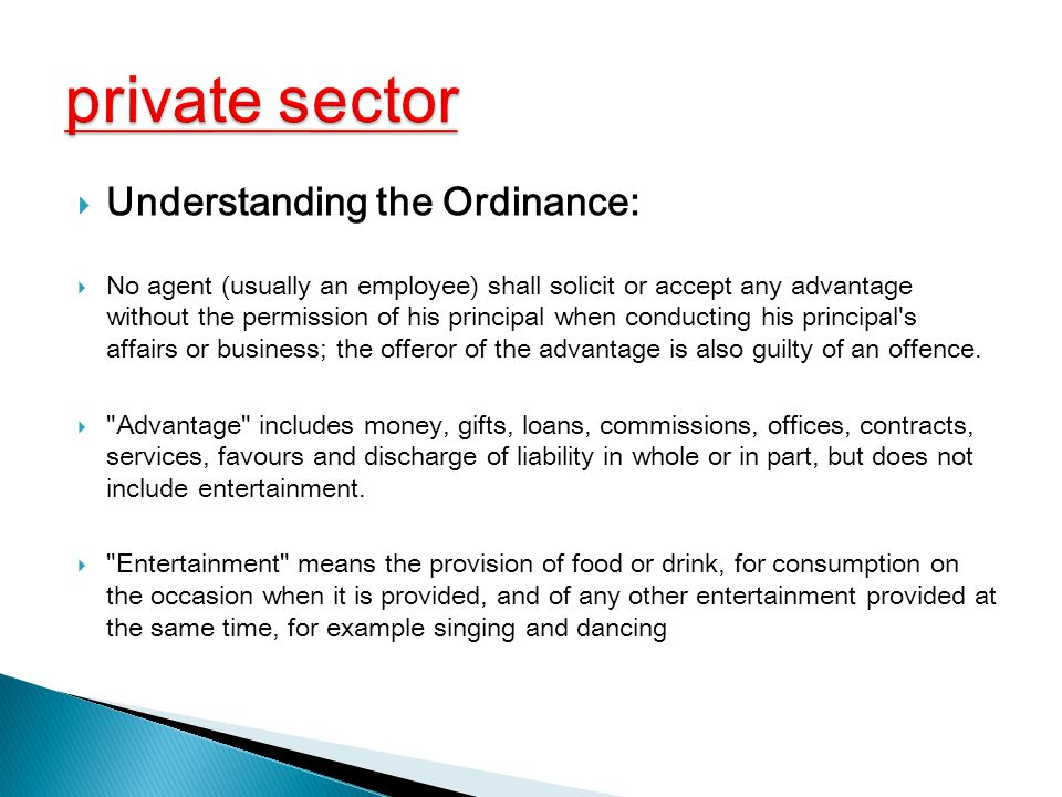 private sector Understanding the Ordinance:
