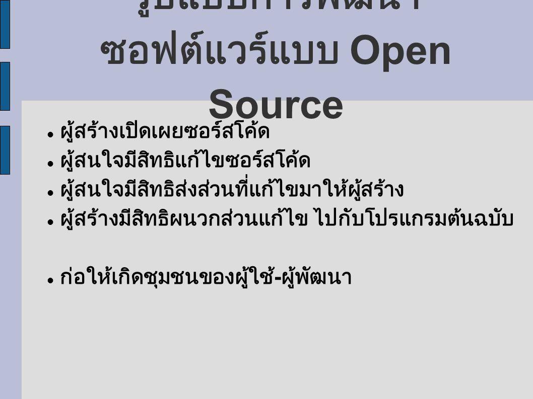รูปแบบการพัฒนาซอฟต์แวร์แบบ Open Source