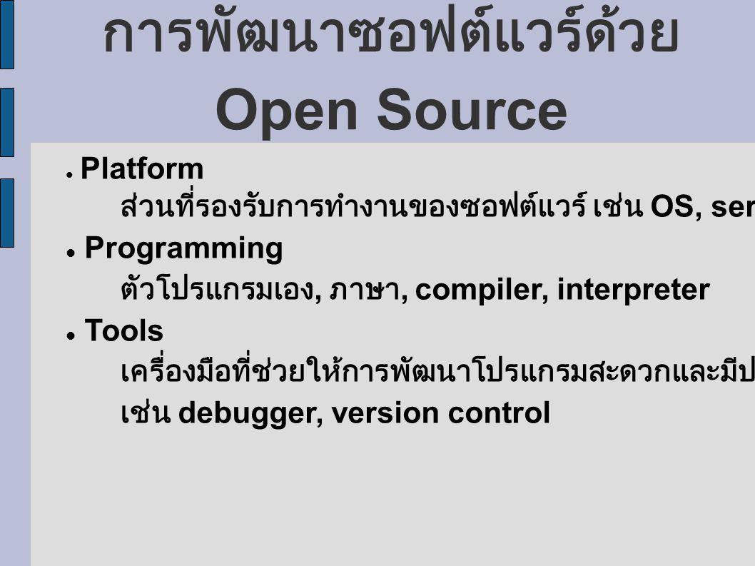 การพัฒนาซอฟต์แวร์ด้วย Open Source