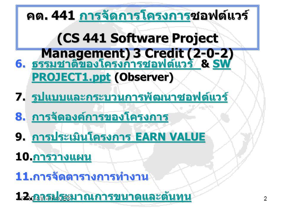 คต. 441 การจัดการโครงการซอฟต์แวร์