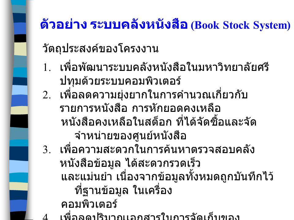 ตัวอย่าง ระบบคลังหนังสือ (Book Stock System)