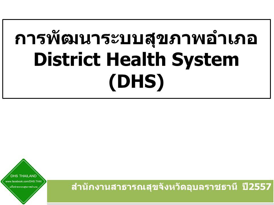 การพัฒนาระบบสุขภาพอำเภอ District Health System (DHS)